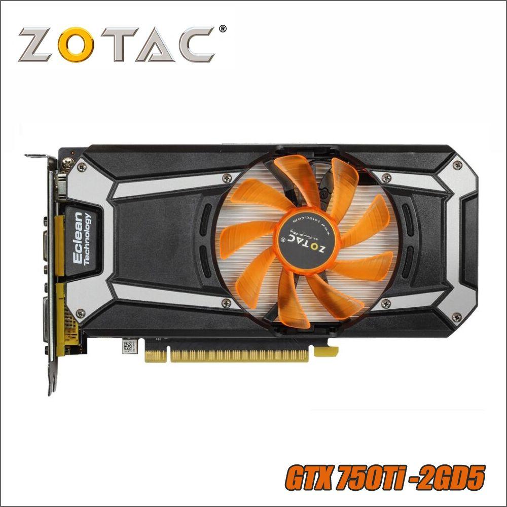 Carte graphique d'origine ZOTAC GeForce GTX 750 Ti 2 GB 128Bit GDDR5 cartes graphiques pour nVIDIA GTX750Ti GTX 750Ti 2GD5 Hdmi Dvi VGA