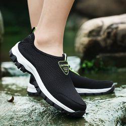 2018 Fashion Pria Kasual Sepatu Slip-On Musim Panas Bernapas Udara Mesh Men 'S Flats Pelatih Sepatu Air Sepatu Sepatu pria