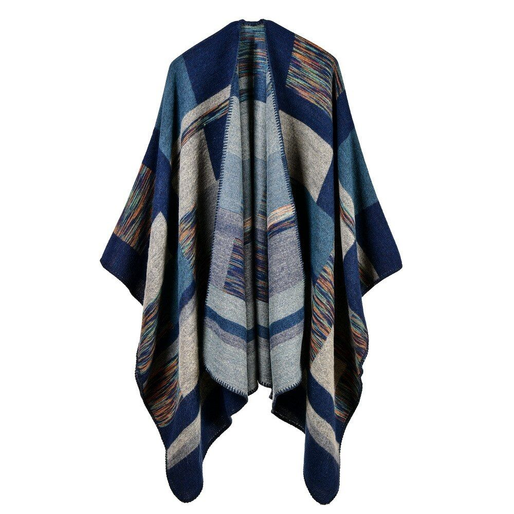 2019 women poncho cashmere caps fashion plaid big thick warm scarf winter ponchos Blanket knit echarpe manteau femme hiver