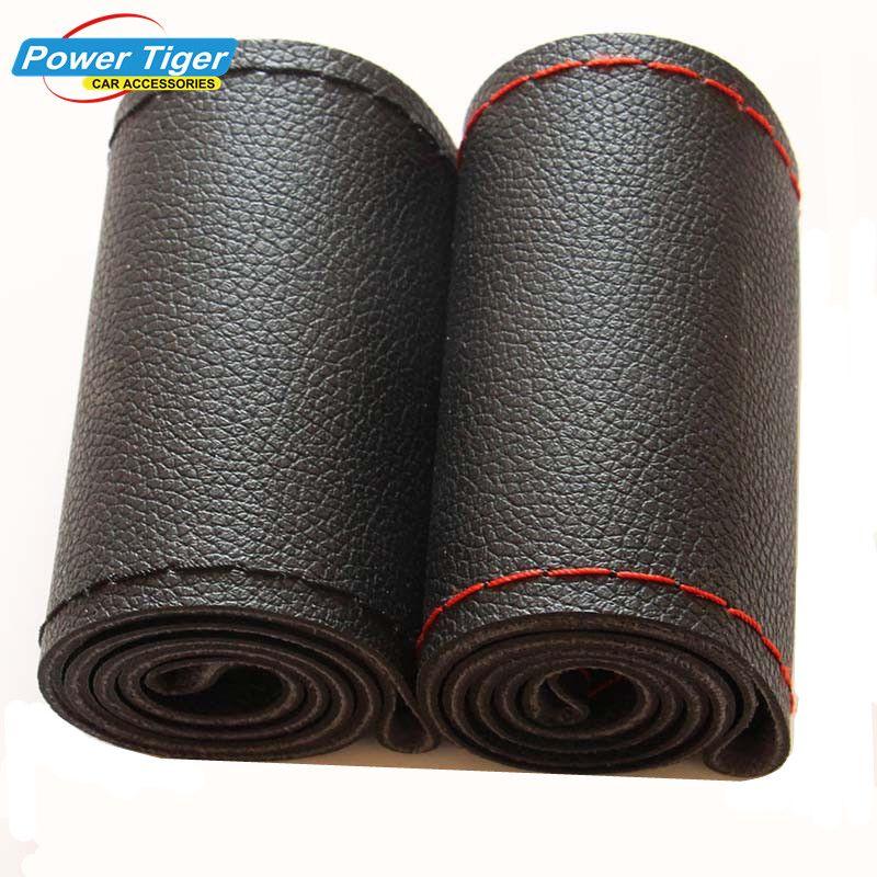 DIY Руль Чехлы для мангала очень мягкая кожа оплетка на руль автомобиля с иглы и Нитки подкладке аксессуары