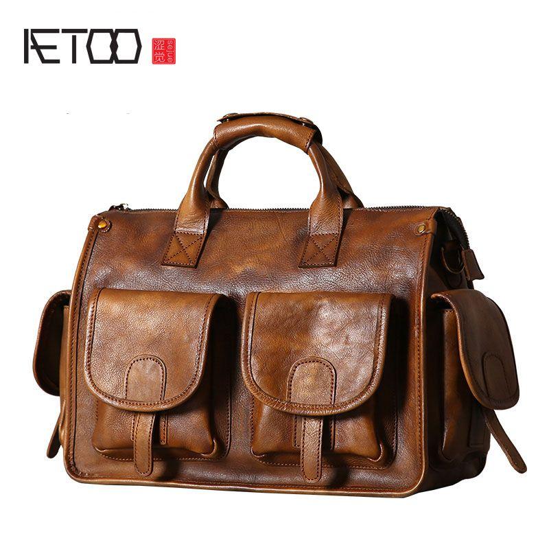 AETOO Original leather men's bag handbag shoulder Messenger bag retro casual hand-made wipe nostalgic old man bag