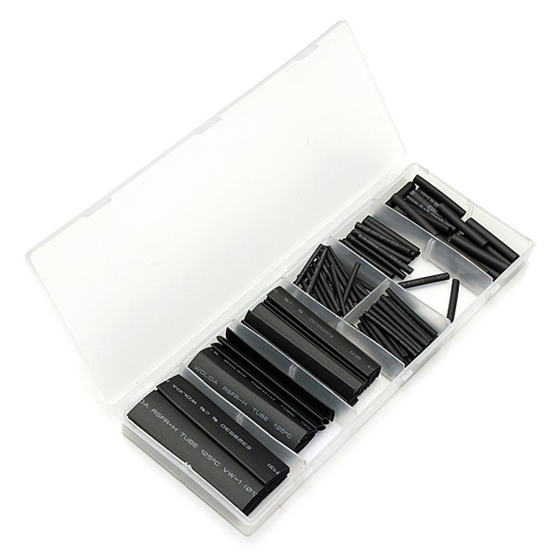 127Pcs 2:1 Polyolefin Black Heat Shrink Tube Sleeving 7Sizes Cable Sleeves