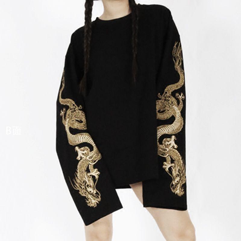 2017 Harajuku Women's Cool Loose Style Black T-shirt Golden Dragon Embroidery Streetwear Long Sleeve Japanese Big Size T Shirts