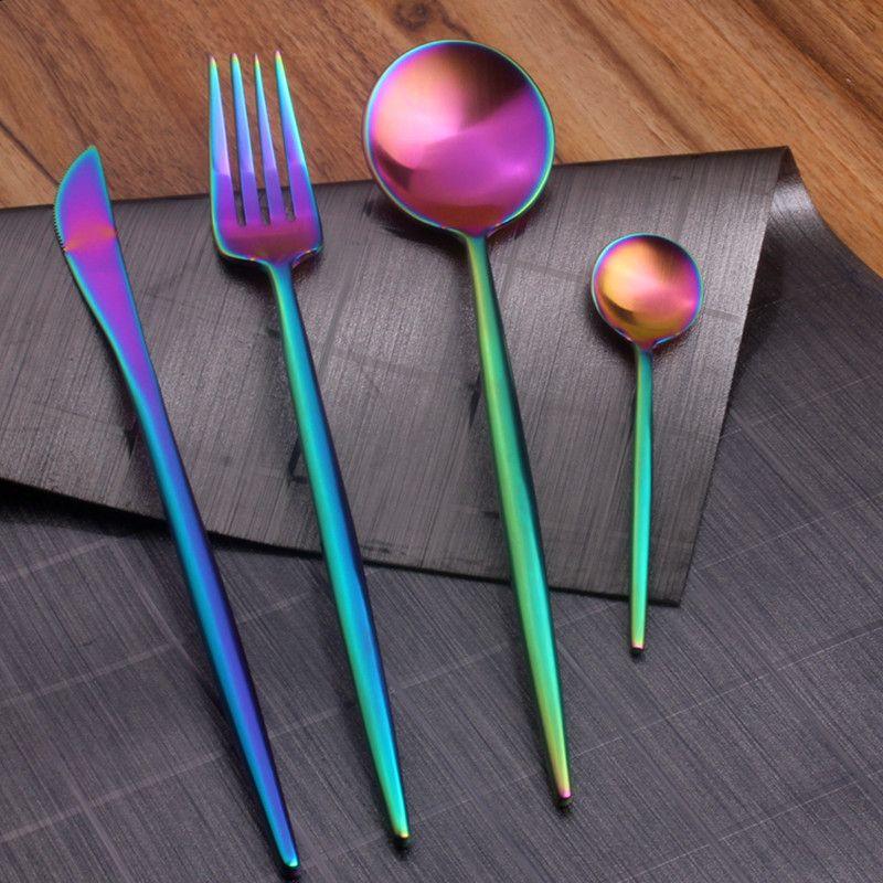 Westerm ensemble de couverts arc-en-ciel coloré Service 4 pièces 1 304 couteaux en acier inoxydable fourchettes cuillères à soupe ensemble de vaisselle ensemble de vaisselle plat