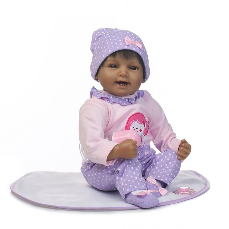 New Arrivel 55cm Soft Silicone Reborn Baby Boy Dolls Toy Lifelike Black Skin Newborn Girls Babies Toddler Doll Girl Brinquedos