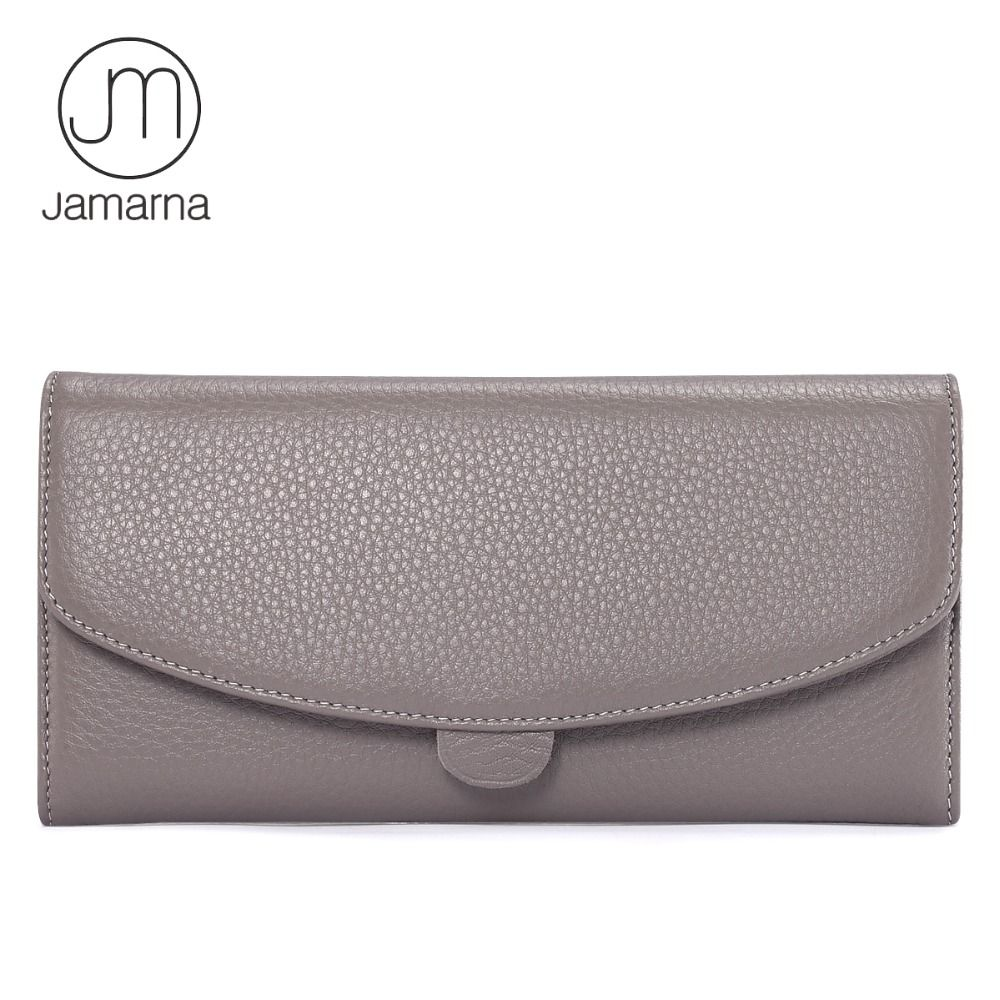 Jamarna Genuine Leather Wallet For Women Long Clutch Zipper Packet Coin Pures Card Holder Phone Wallet Female Free Shipping
