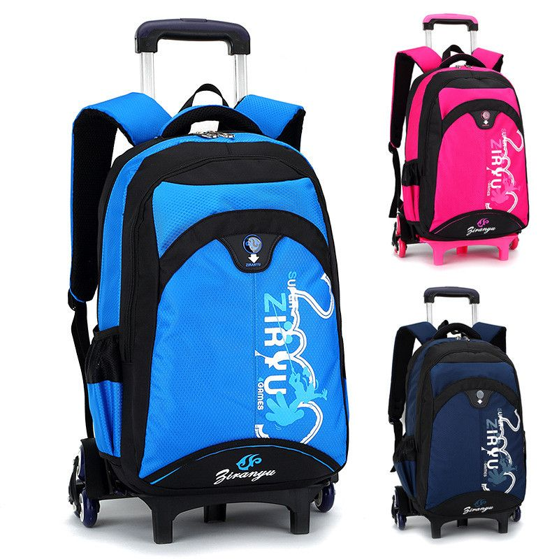 Fashion Removable Children School Bags with 6 Wheels Child Climb Stair Trolley Backpack for Boys Girls large capacity Bookbag