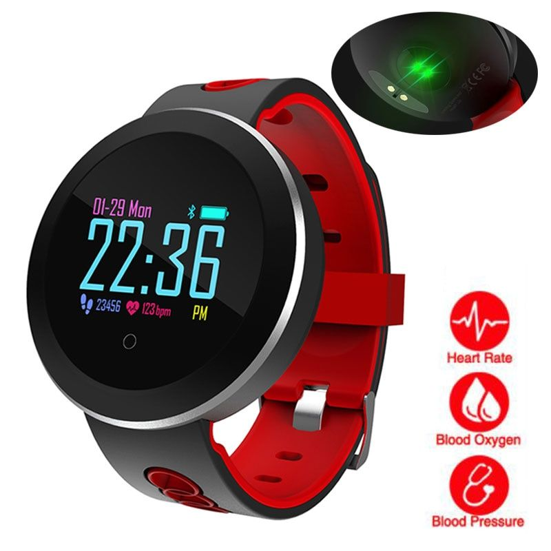 Heart Rate Monitor Smart Watch Sports <font><b>Blood</b></font> Pressure Pedometer Running OLED Touch Waterproof Fitness Intelligent Watch Men Women