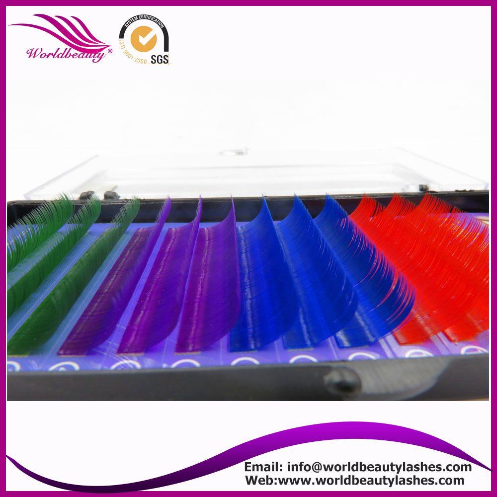 Hot selling! 0.15/0.20mm J/B/C/D curl  blue color silk Individual Natural False Eyelashes Extension Freeshipping