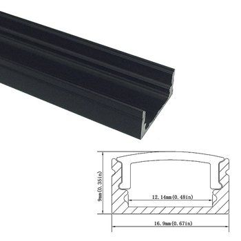 UnvarySam Black Aluminum profile 1M 10pcs recessed aluminium led profile Clear Cover led strip lights for kitchen light channel