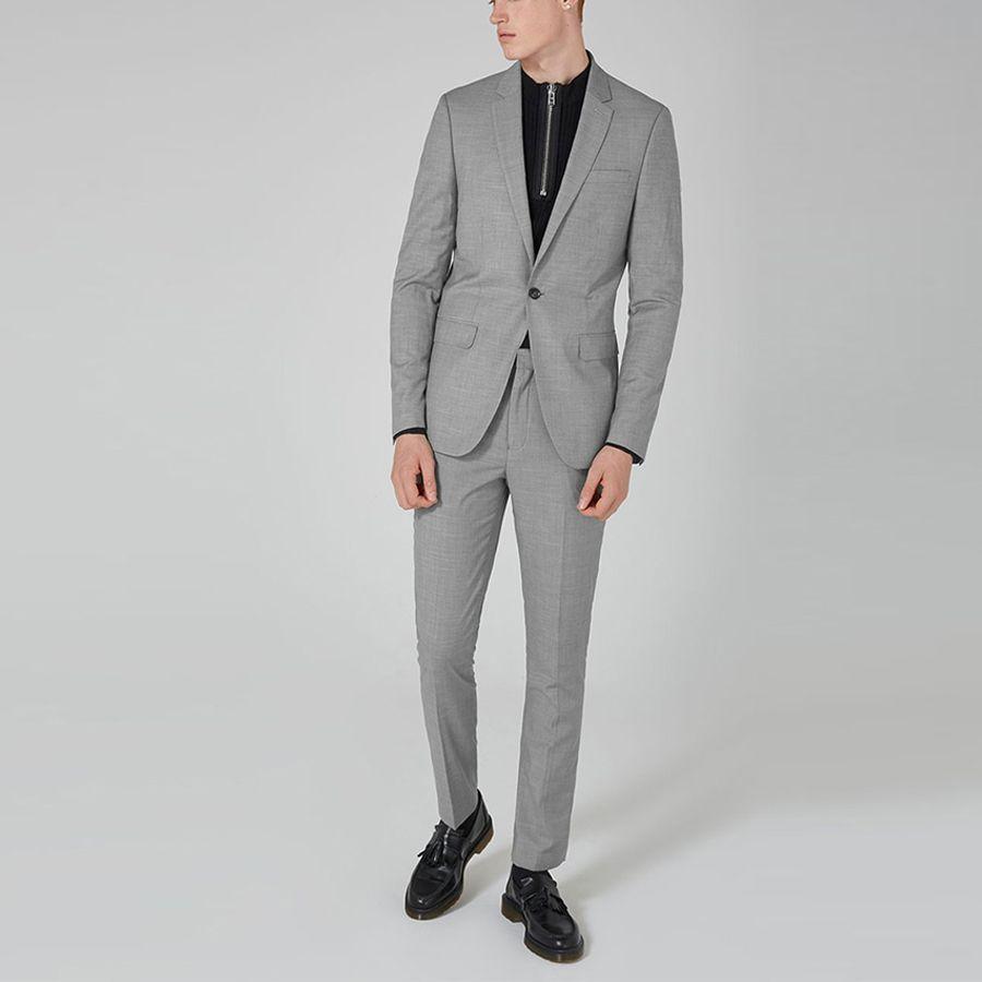 Top Design Grey Smart Casual Business Suit  Groom Tuxedos Wedding Suits Prom Party Suits Slim Fit for Men 2Pcs 2018 Fashion Suit