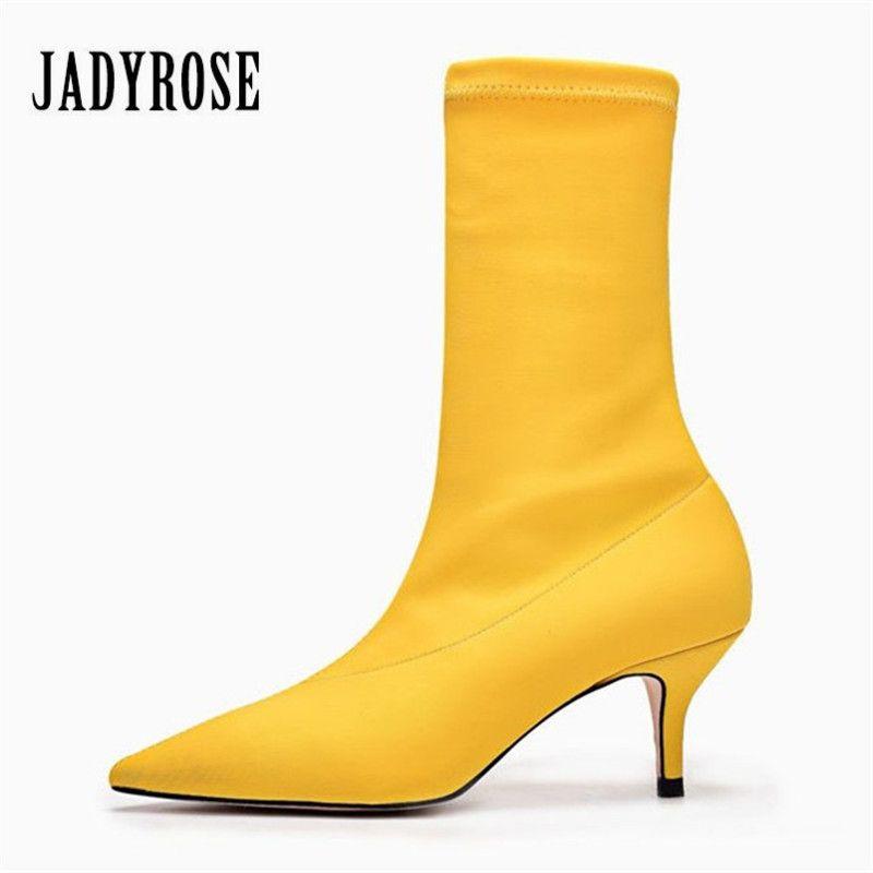 Jady роза Желтая Для женщин носок Сапоги и ботинки для девочек стрейч Ткань острый носок и высокий каблук Ботильоны без застежки женские туфл...