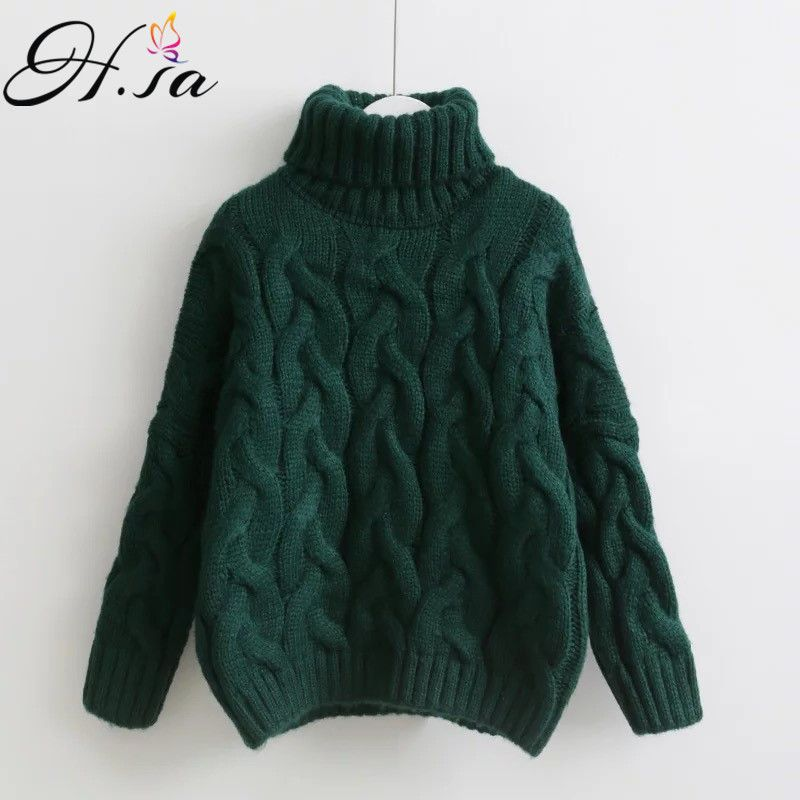 H.SA Women Turtleneck Sweaters Autumn Winter 2017 Pull Jumpers European Casual Twist Warm Sweaters Female oversized sweater Pull