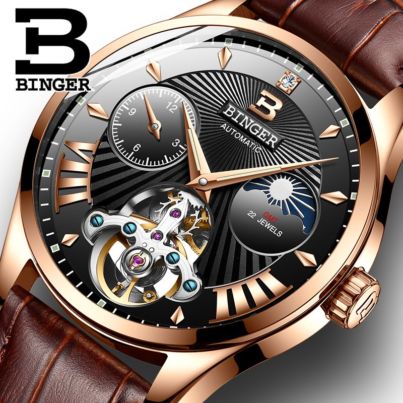 Switzerland Mechanical Watch Men Binger Role Luxury Brand Men Watches Skeleton Wrist Sapphire Men Watch Waterproof B-1186-8