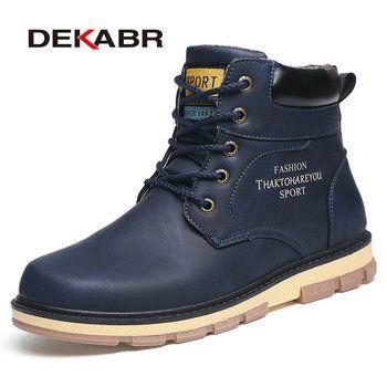 DEKABR/Популярный бренд Новые удерживающие тепло зимние сапоги Для мужчин высокое качество из искусственной кожи износостойкими повседневна...