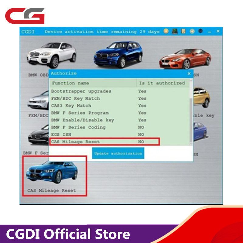 CAS Mileage Reset Authorization for CGDI Prog for BMW MSV80 Key Programmer