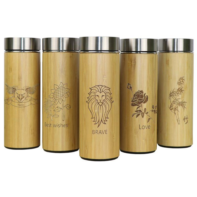 400 ml bambou voyage Thermos bouteilles en acier inoxydable bouteille d'eau flacons sous vide isolé termos tasse thé bardak tasse personnalisée