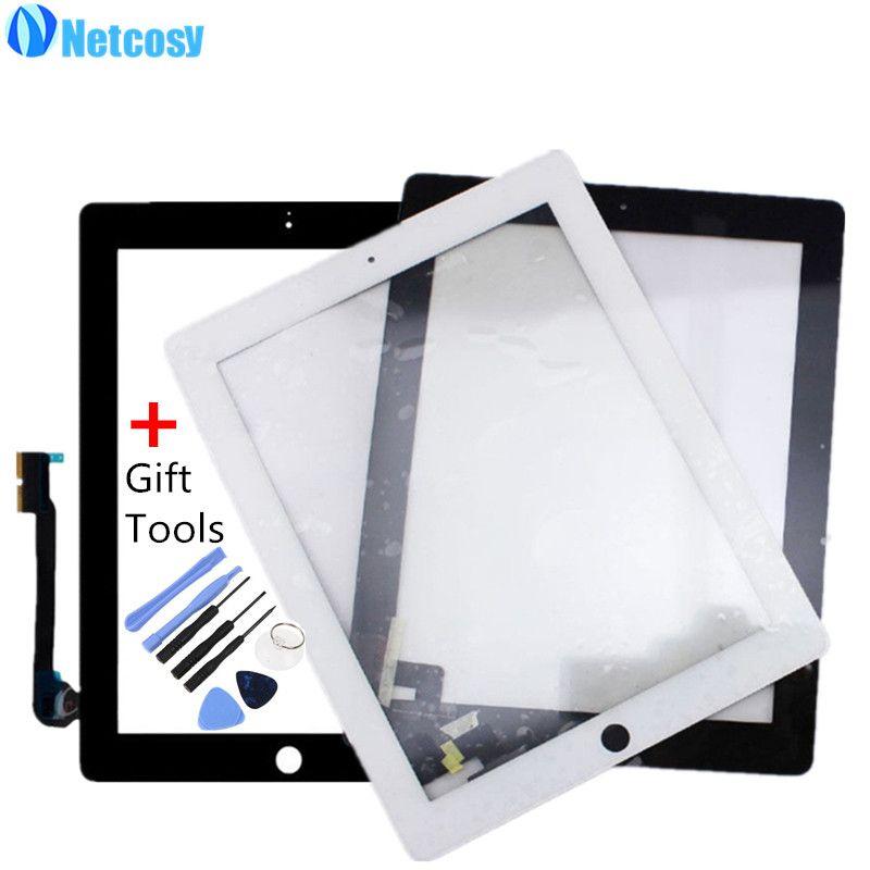 Netcosy Écran Tactile Digitizer Avant Tactile Panneau de Verre pour iPad 2/3/4 Écran Tactile Pièce De Rechange TP + outil Accessoires