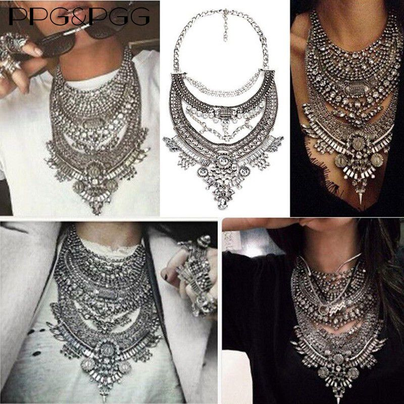 PPG&PGG 2017 Fashion Vintage Crystal Multilayer Statement Chain Choke Necklaces Pendants Gypsy Style Maxi Collar