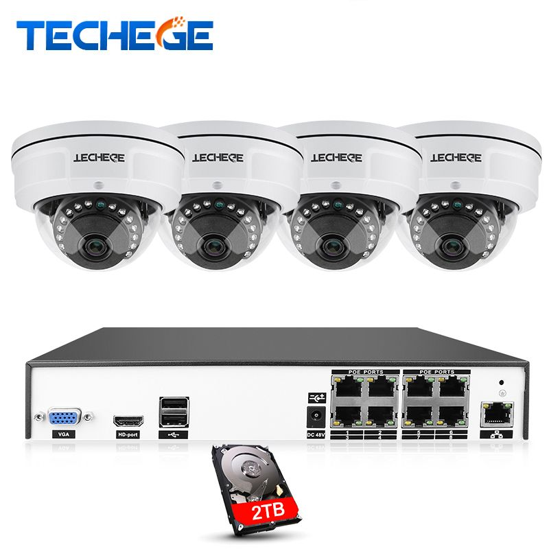 Techege H.265 8CH POE NVR Kit 4MP POE IP Camera 2592*1520 IR Night Vision Waterproof Vandalproof Video Surveillance System