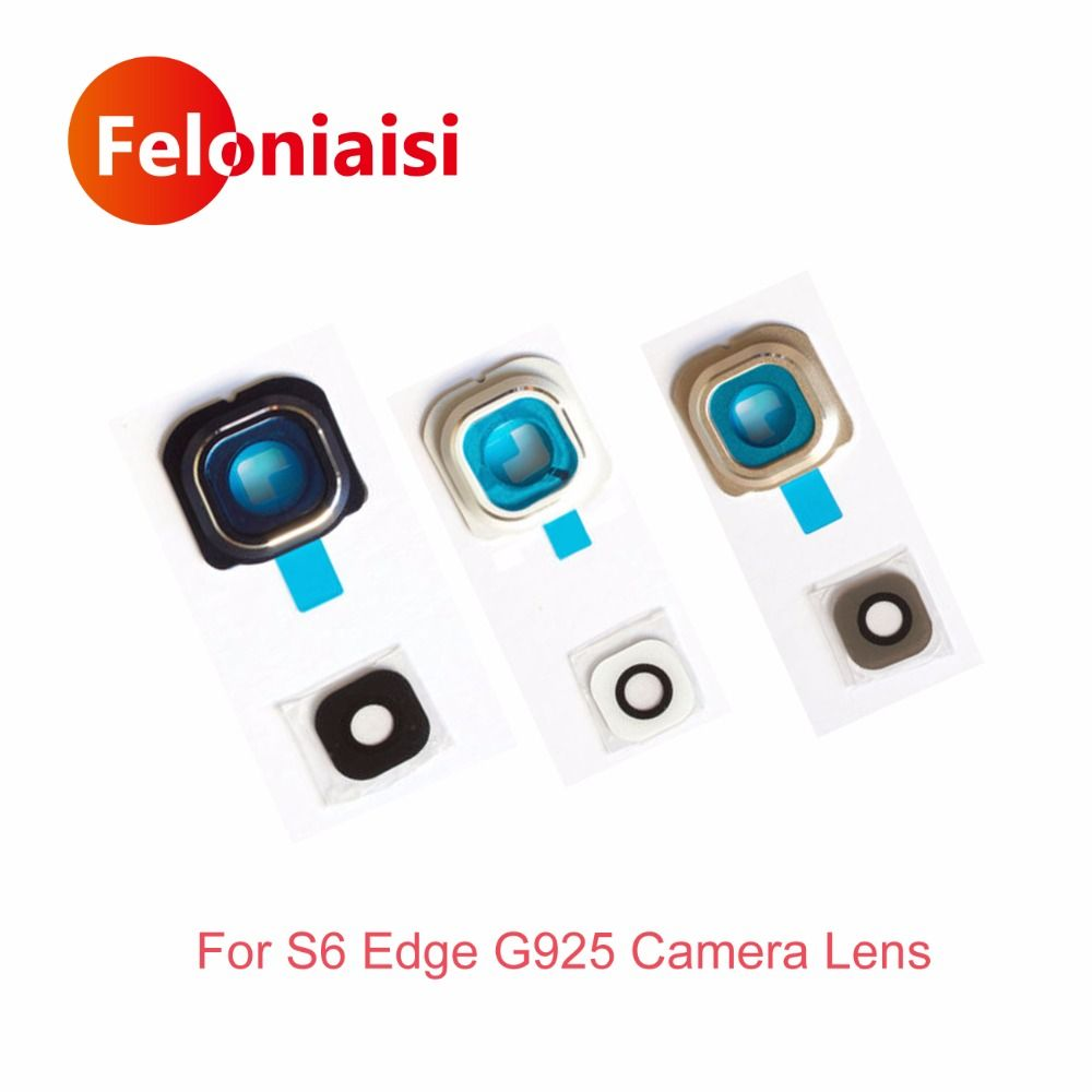 Für Samsung Galaxy S6 Rand G925 G925F Zurück Rückfahrkamera objektiv Glas Abdeckung Circle Cap Kamera Rahmen Halter Schwarz Weiß Gold