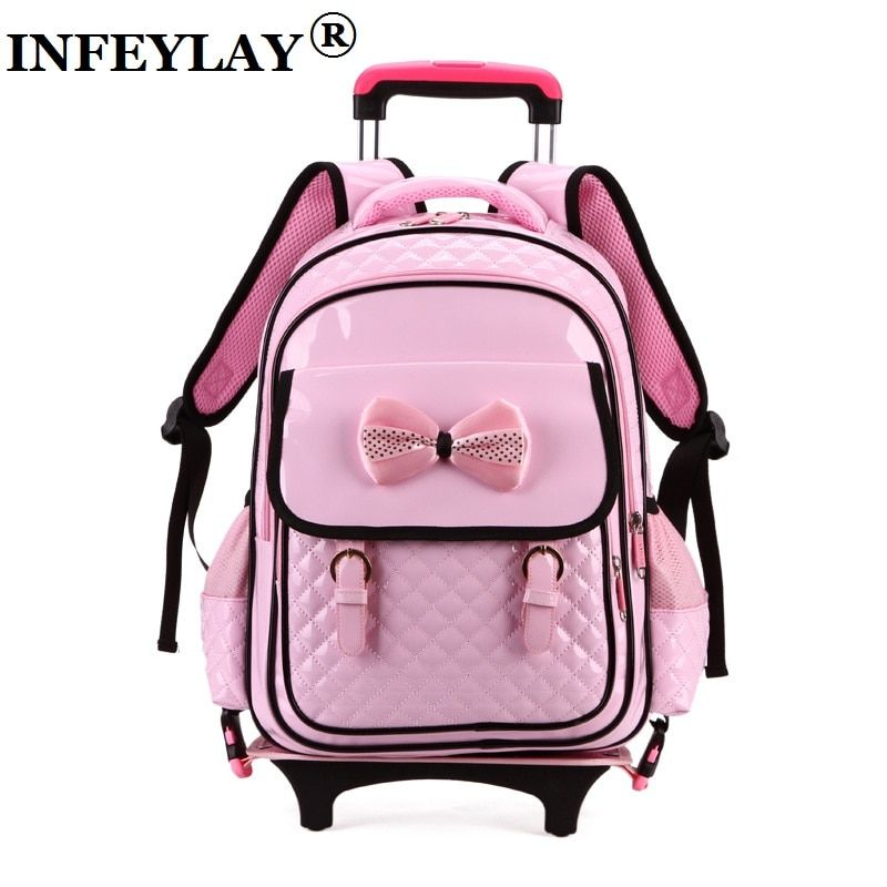 HOT rolling trolley case Climb the stairs child bowknot school bag kids students Glowing suitcase girl backpack travel luggage
