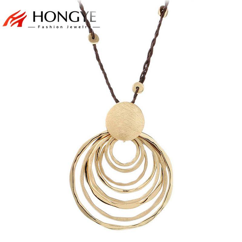 Neue Charms Lange Seil Kette Halskette Schmuck Gold-Farbe Polieren Multi-Kreis Runde Anhänger Halskette Frauen Collares Largos