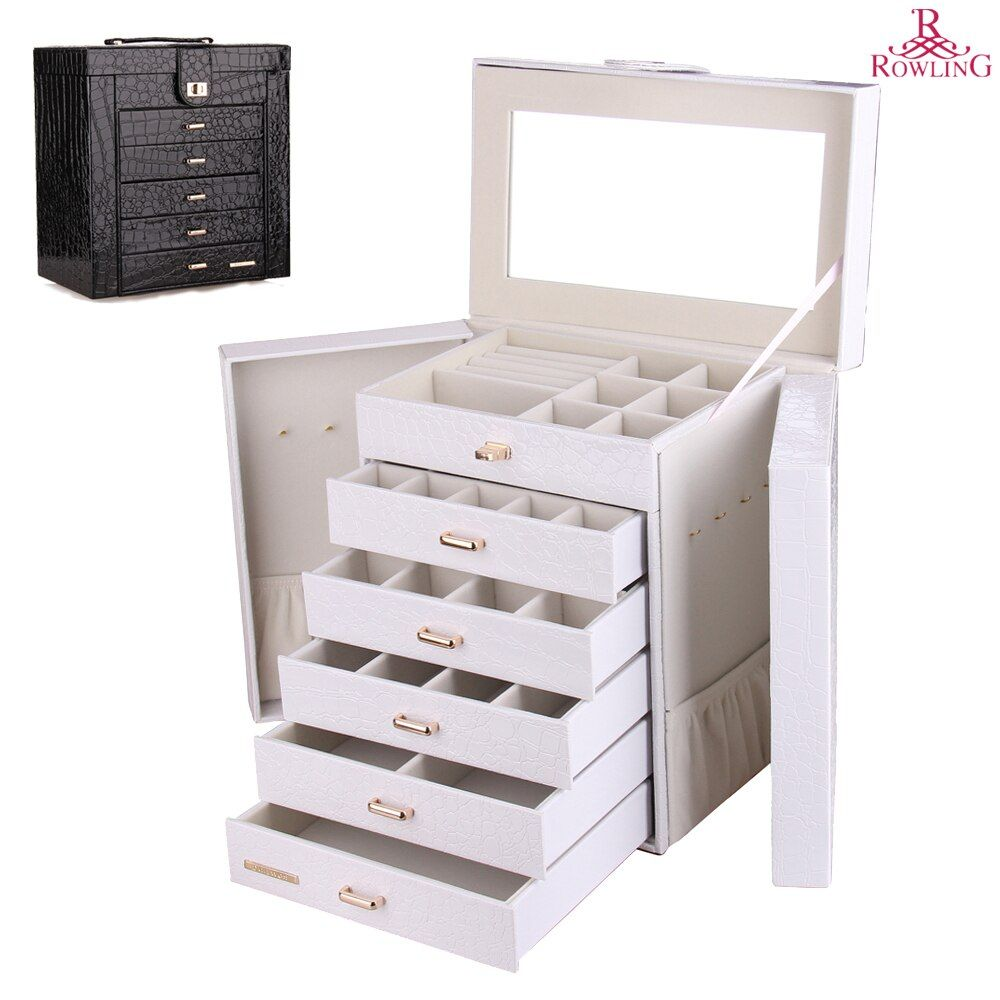 Large Jewelry Box Watch <font><b>Case</b></font> Beads Earrings Rings Jewelry Armoire Storage <font><b>Case</b></font> Black White Pink Leather Trinket Organizer ZG231