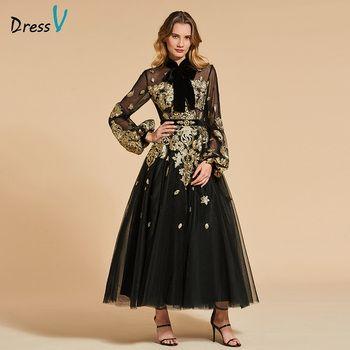 Dressv black evening dress high neck a line elegant long sleeves ankle-length wedding party formal dress evening dresses