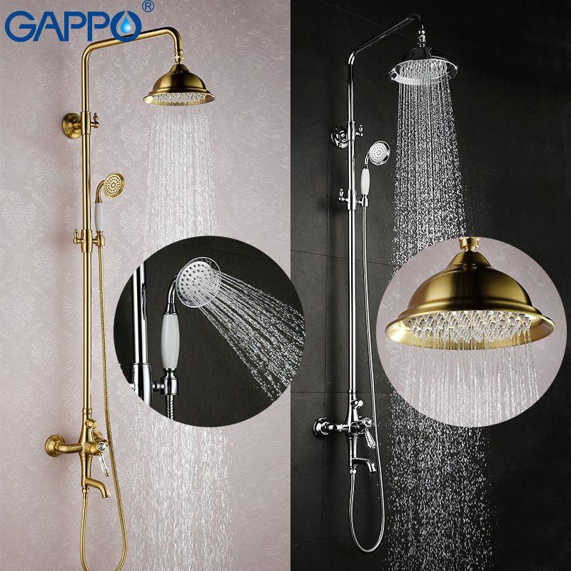 GAPPO bathroom shower faucet set bronze bathtub mixer shower faucet Bath Shower tap waterfall big rain shower headG2497 GA2497-4