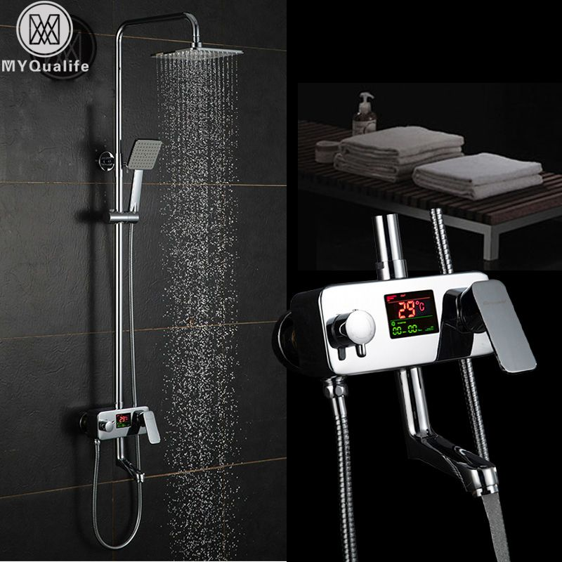 Chrome Digitale Dusche Wasserhahn Einzigen Griff Bad Dusche Wasserhahn System Anti Bügeln Temperaturanzeige Brausebatterie Schwenkauslauf