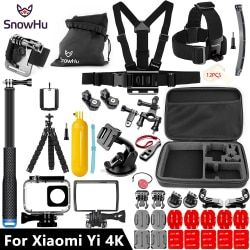 SnowHu For Xiaomi Yi Accessories set 45M Diving Sport Waterproof Box monopod mount For xiaoYi 4K 4k+Lite Action Camera Y27