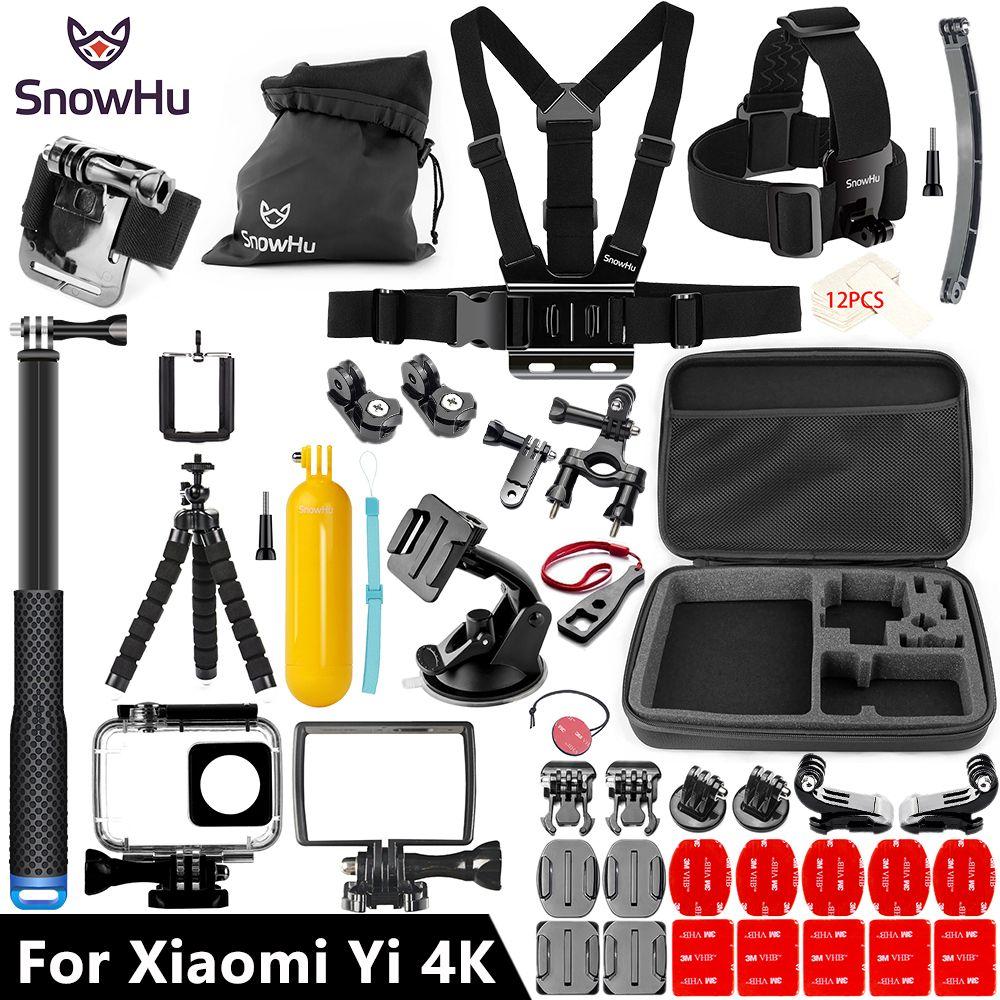 SnowHu For Xiaomi Yi Accessories set 45M Diving Sport Waterproof Box monopod mount For xiaoYi 4K 4k+Lite Action Camera Y27