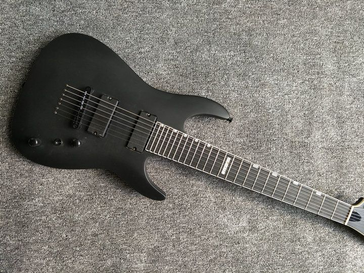 human New arrival 7 strings electric guitar,matte black clouds striped Body and Head,Black hardware, free shipping