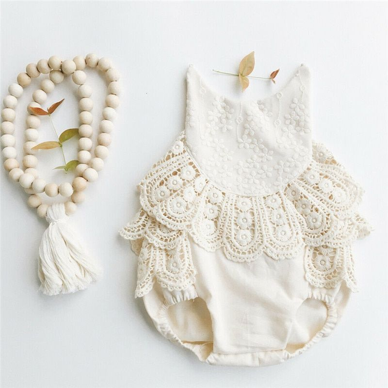 0-12 M vêtements bébé fille dentelle body fleurs ceinture sans manches costumes de soleil à bretelles o-cou dos nu bébé fille combinaisons