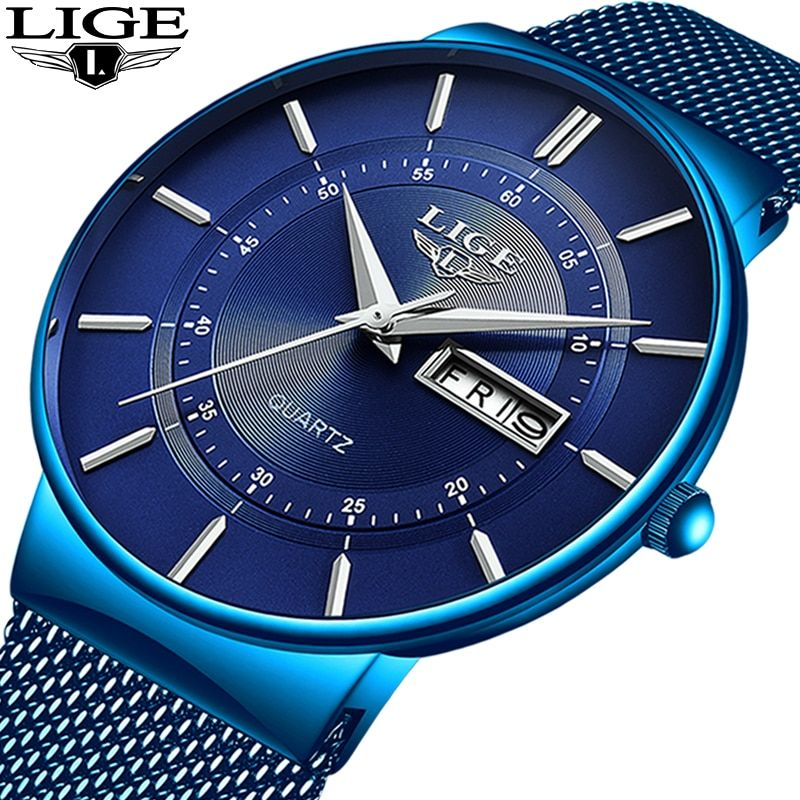 2019 nouveau bleu Quartz horloge LIGE hommes montres Top marque de luxe montre pour hommes Simple tout acier étanche montre-bracelet Reloj Hombre