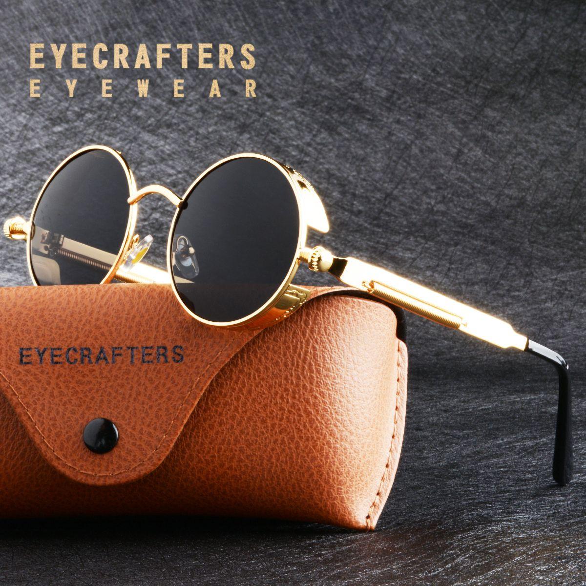 Or métal polarisé lunettes de soleil gothique Steampunk lunettes de soleil hommes femmes mode rétro Vintage bouclier lunettes nuances 372 rouge