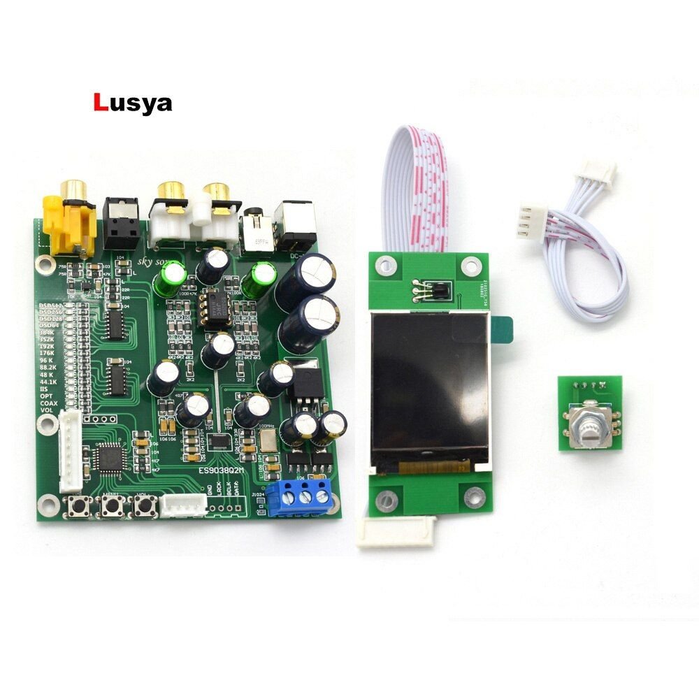 ES9038 Q2M DAC PCM DSD Decoder board Support IIS DSD Coaxial Fiber input 384KHz DOP with OLED T0012