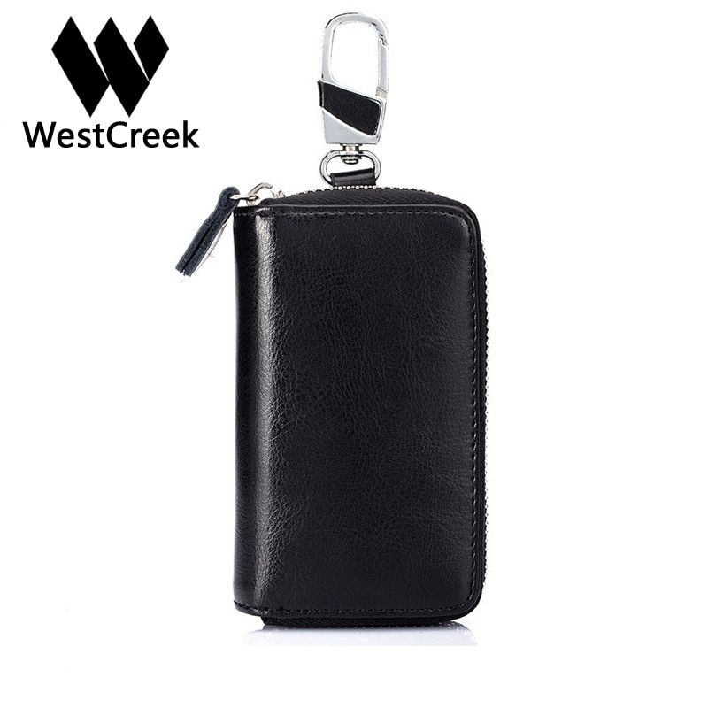 Westcreek Brand Split Leather Oil Wax Leather High Capacity Unisex Zipper Key Wallet Fashion Simple Key Holder Key Organizer