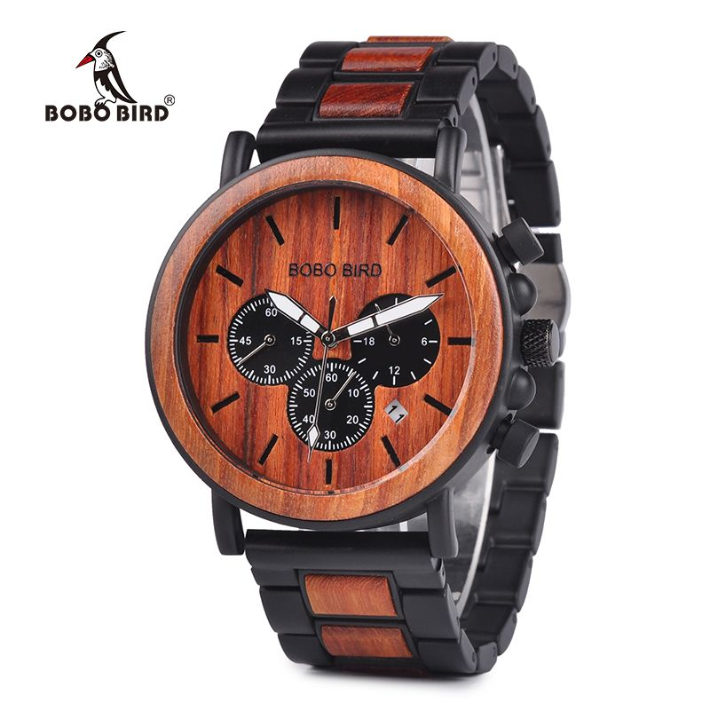 BOBO BIRD Wooden Men Watches Relogio Masculino Top Brand Luxury Stylish Watch Wood & Stainless Steel Chronograph Military