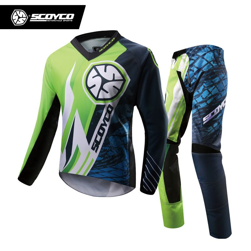 SCOYCO Professional Motocross Racing Jersey + Hip Pads Set Motocross Off-Road Dirt Bike MTB DH MX Clothing