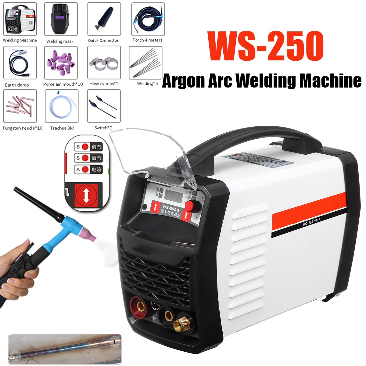220V 250A LED Digital Argon Inverter Arc Welding Machine WS-250 MOS TIG MMA W elder for Welding