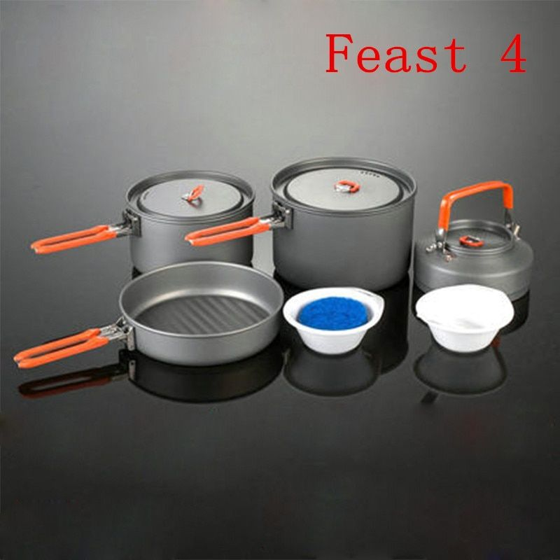 Fire Maple Feast 4 Camping Pot Set 1014g 4-5 Person Portable Cutlery Outdoor Picnic Cooking Cookware Hard Aluminum Free Shipping