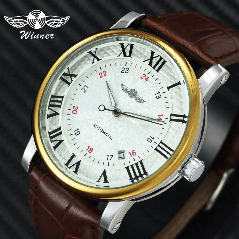 Casual Sports Watches WINNER Automatic Watch Mechanical Clock Men Brown Genuine Leather Strap Classic Business Wristwatch Mens
