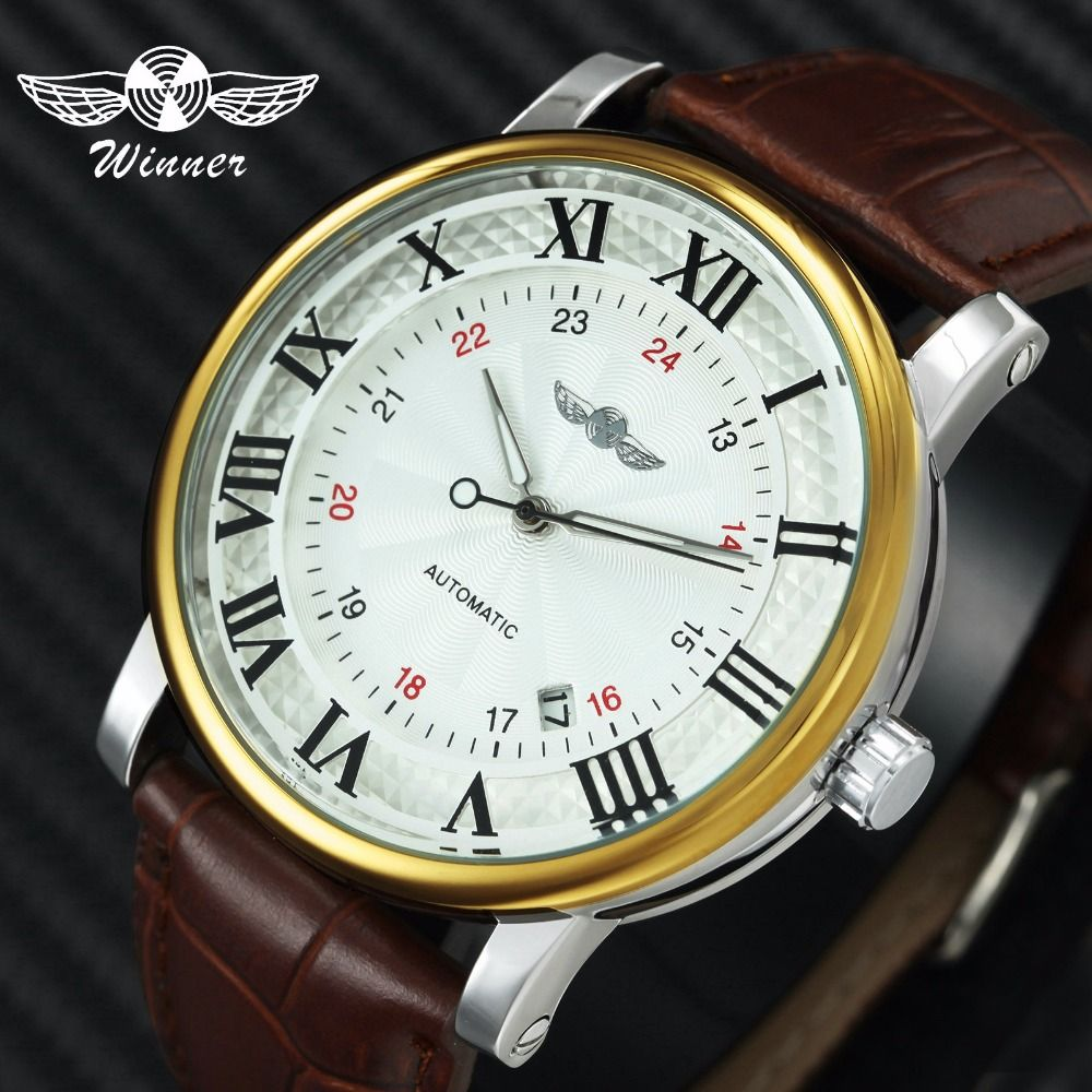 WINNER Top Brand Luxury Auto Mechanical Watch Men Leather Strap Skeleton Dial Royal Classic Wristwatches for Man 2019 Fashion