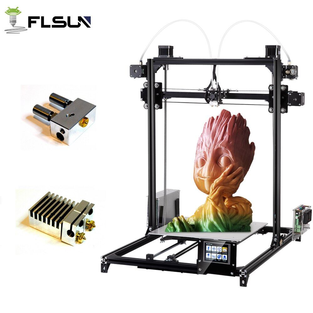 Flsun 3D Printer Kit Double Extruder Touch Screen Large Printing Area 300*300*420mm Auto Leveling 3D-Printer Two Rolls Filament