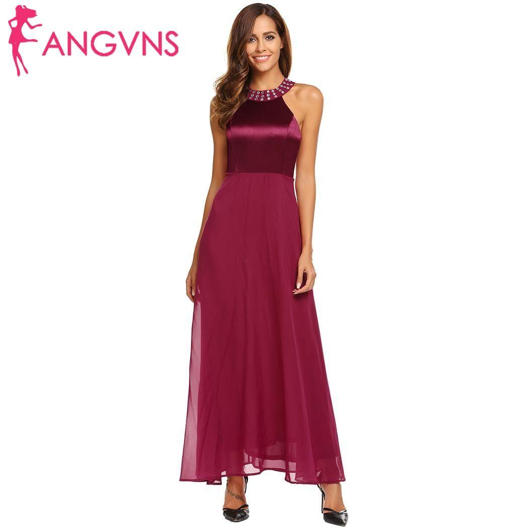 Angvns mujeres satén gasa vestido largo elegante frío hombro sin mangas Diamantes con piedras falsas collar Maxi Vestidos vestidos