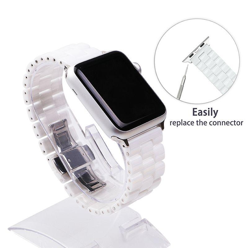 FOHUAS Ceramic Watchband for Apple Watch 38mm 42mm Smart Watch Band Link Strap <font><b>Bracelet</b></font> Ceramic Links Watchband for iWatch
