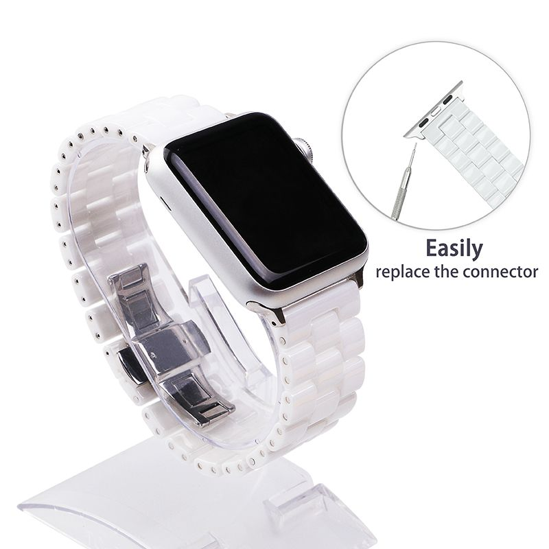 FOHUAS Ceramic Watchband for Apple Watch 38mm 42mm Smart Watch <font><b>Band</b></font> Link Strap Bracelet Ceramic Links Watchband for iWatch