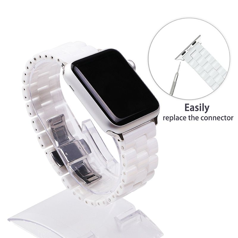 FOHUAS <font><b>Ceramic</b></font> Watchband for Apple Watch 38mm 42mm Smart Watch Band Link Strap Bracelet <font><b>Ceramic</b></font> Links Watchband for iWatch